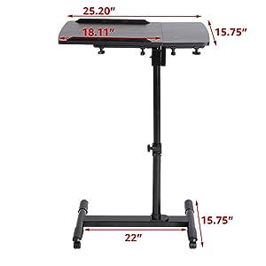 DOEWORKS Laptop Table Height Adjustable Bedside Laptop Desk,Moveable Notebook Stand,Black (Color: black)