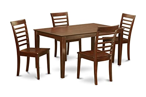 East West Furniture CAML5-MAH-W 5-Piece Dining Table Set