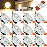 Hengda® 12er Pack 3W LED Einbauleuchte Set Geringe Einbautiefe Dimmbar