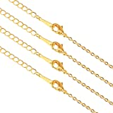 PH PandaHall 15 Strands Golden Brass Cross Chains Flat Oval Links Cable Chain Necklace with Lobster Clasps for Jewelry Making, 18.7