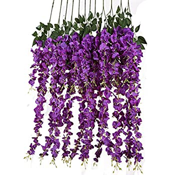Luyue 3.18 Feet Artificial Silk Wisteria Vine Ratta Silk Hanging Flower Wedding Decor,6 Pieces,(Purple)