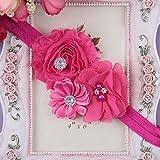 Beb� Flores gasa perlas Diademas Banda de Cabello Tejido Infant Cute suave accesorios Rosa y rojo