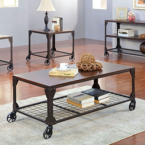 Edgeley Industrial Style Metal Finish Coffee Table