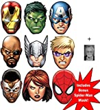 Mask Pack - Marvel's The Avengers Ultimate Super Hero Set of 8 Variety Face Masks (Hulk, Captain America, Nick Fury, Thor, Iron Man, Black Widow, Hawkeye, Falcon) + Bonus Spider-Man Mask and 6x4 inch (15cm x 10cm) Star Photo