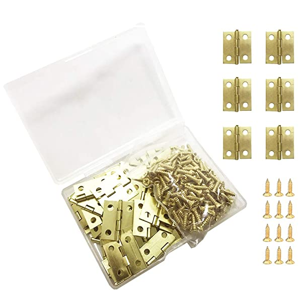 Juland 50 Pieces Mini Copper Hinges Retro Brass Hinges with 200 Pieces Replacement Screws for Wooden Box Jewelry Chest Box Cabinet DIY Accessories (18 x 15mm)