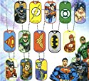 "DC Comics Super Heroes Dog Tag Neclaces Set of 13 (Complete with ball chains 21"" long)"