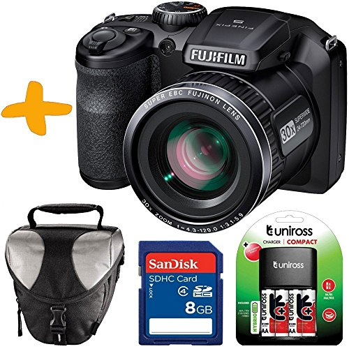 Bundle Fuji S4800 Digital Camera +Case +Sandisk 8GB +NiMh Batteries & Charger (Fujifilm Finepix S4800HD 16MP 3