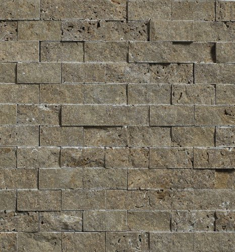 Noce 1X2 Travertine Split-Faced Mosaic Tile