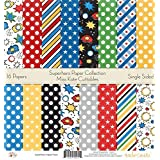 Pattern Paper Pack - Superhero - Scrapbook Premium Specialty Paper Single-Sided 12