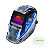 Tekware Welding Helmet Solar Power Auto Darkening Hood Welder Mask Breathable Grinding Helmets with Adjustable Shade Range (Color: Blue Fire)