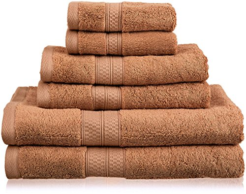 Superior 6 Piece Collection Rayon from Bamboo and Cotton Soft/Absorbent Towels Set, Cocoa Cocoa Bath