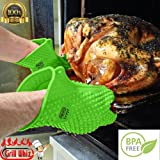 Heat Resistant Gloves Set of 2 by Grill Whiz. Premium Heat Resistant Silicone Gloves perfect for Grilling, Baking, and Cooking. Extra thickness for maximum Heat Protection. Replaces your cloth oven mitts and oven gloves. See Black Friday special below.