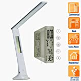 BONASHI Cordless LED Desk Lamp with USB Port Rechargeable, Touch Control Diammable Table Reading Lights with Calendar/Alarm/Clock LCD Display and Colored Nightlight Base, for Study Sleep, Silver White (Color: Silver)