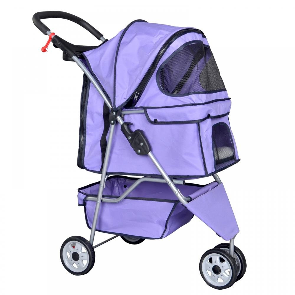 Purple Pet Stroller Cat Dog Cage 3 Wheels Stroller Travel Folding Carrier T13 pet carrier bag for cat dog medium size brown