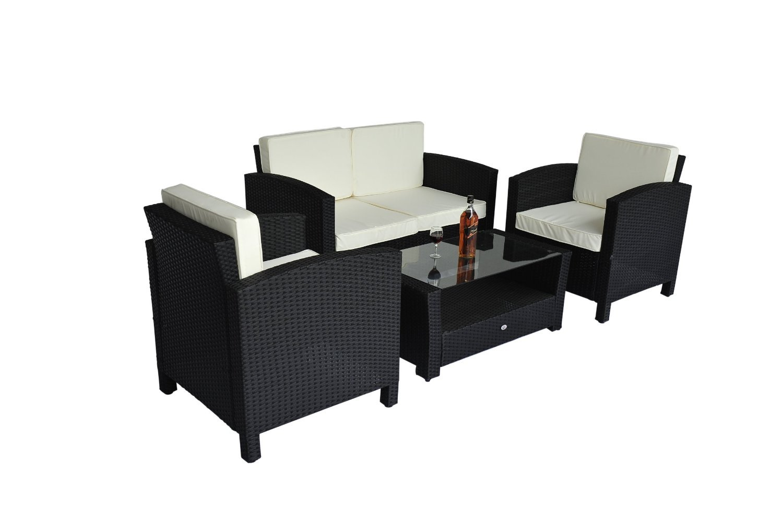 homcom Gartenmöbel Polyrattan 14-teilig Gartenset Lounge Sitzgruppe inklusive Kissen, schwarz