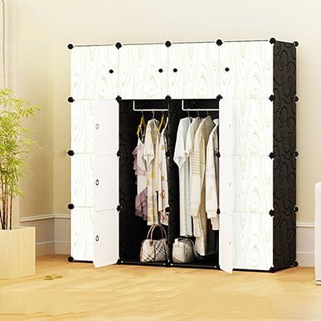 Cqq Kleiderschrank Einfache Tuch Kleiderschrank Kombi-Kleiderschrank Kunststoff-Schließfächer Montiert einfach modernen Stahlrahmen ( form : A )