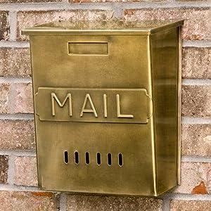 """Vertical """"MAIL"""" Wall-Mount Brass Mailbox -"""