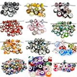 Ten Pack of Assorted Colors Glass Lampwork Murano Glass Beads For Snake Chain Bracelets (Select Your Color From the Menu)