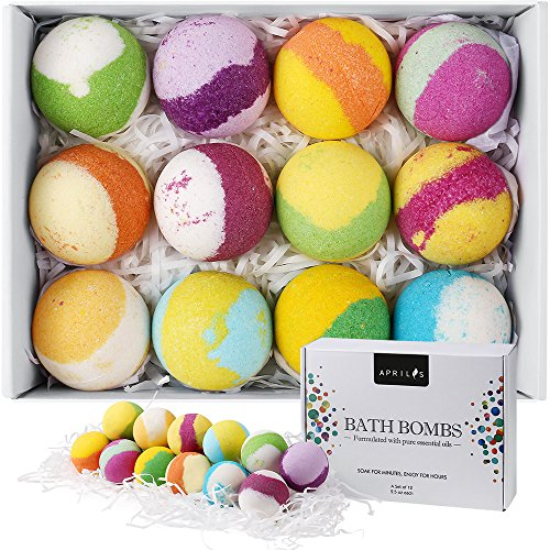 Aprilis 12 Bath Bombs Gift Set, Handcrafted Vegan Bath Bomb Set with Different Organic Essential Oils, Perfect Birthday Gift Idea For Her, Women, Teen Girls and Kids