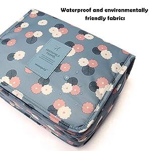 pengxiaomei Toiletry Bag, Waterproof Hanging Cosmetic Bag Travel Cosmetic Kit Handle Organizer Bag with Hook for Women Girls(Blue)