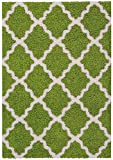 Maxy Home Shag Moroccan Trellis Green & Ivory 5' x 7' Contemporary Area Rug BEL2895