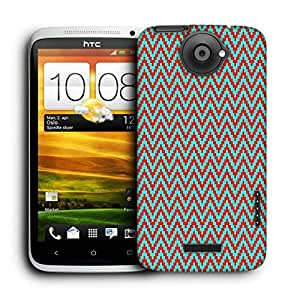 Snoogg Red And Green Strips Printed Protective Phone Back Case Cover For HTC One X