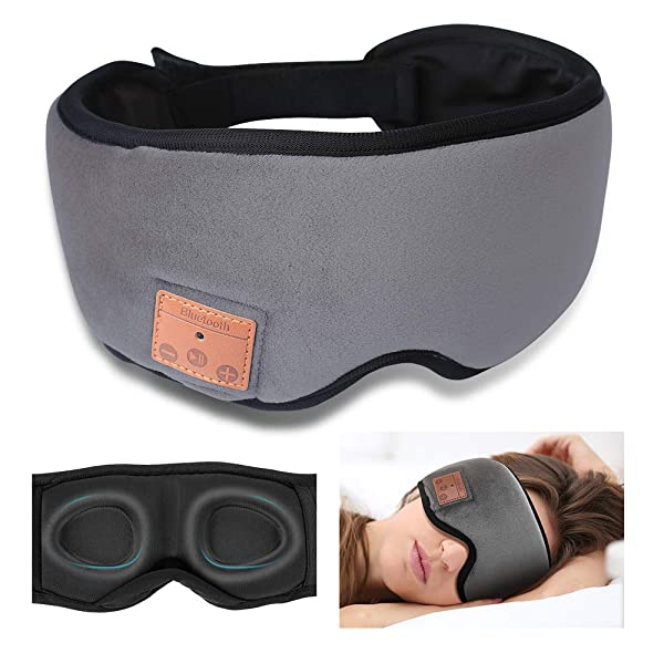 Bluetooth Sleeping Eye Mask Sleep Headphones, Upgraded 3D Sleep Mask Bluetooth Headphones- Ultra Thin HD Stereo Speakers Eye Mask for Sleeping, Soft and Handsfree, Long Play Time (Color: Grey)