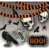 Giant Halloween Decorating Kit  - Skulls, Ravens, Bats and Spiders - 21 Pieces.