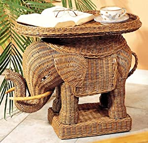 Indoor Wicker Elephant Table White End Tables