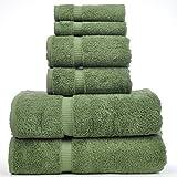 Luxury Hotel & Spa Towel 100% Genuine Turkish Cotton Bath Towel Bundle (Moss, 6-Piece Towel Set)