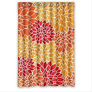 Beauty Orange And Red Dahlia Floral PEVA Shower Curtain Bathroom
