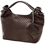 VONETTA Brown Embossed Woven Large Hobo Double Handles Shoulder Bag Satchel Handbag Purse w/Mini Bag