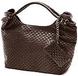 VONETTA Brown Embossed Woven Large Hobo Double Handles Shoulder Bag Satchel Handbag Purse w/Mini Bag