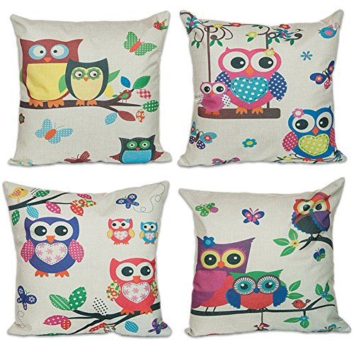 Sunlilee Cotton Linen Cushion Cover Throw Pillow Case Set of 4 - Owl and Tree 18""