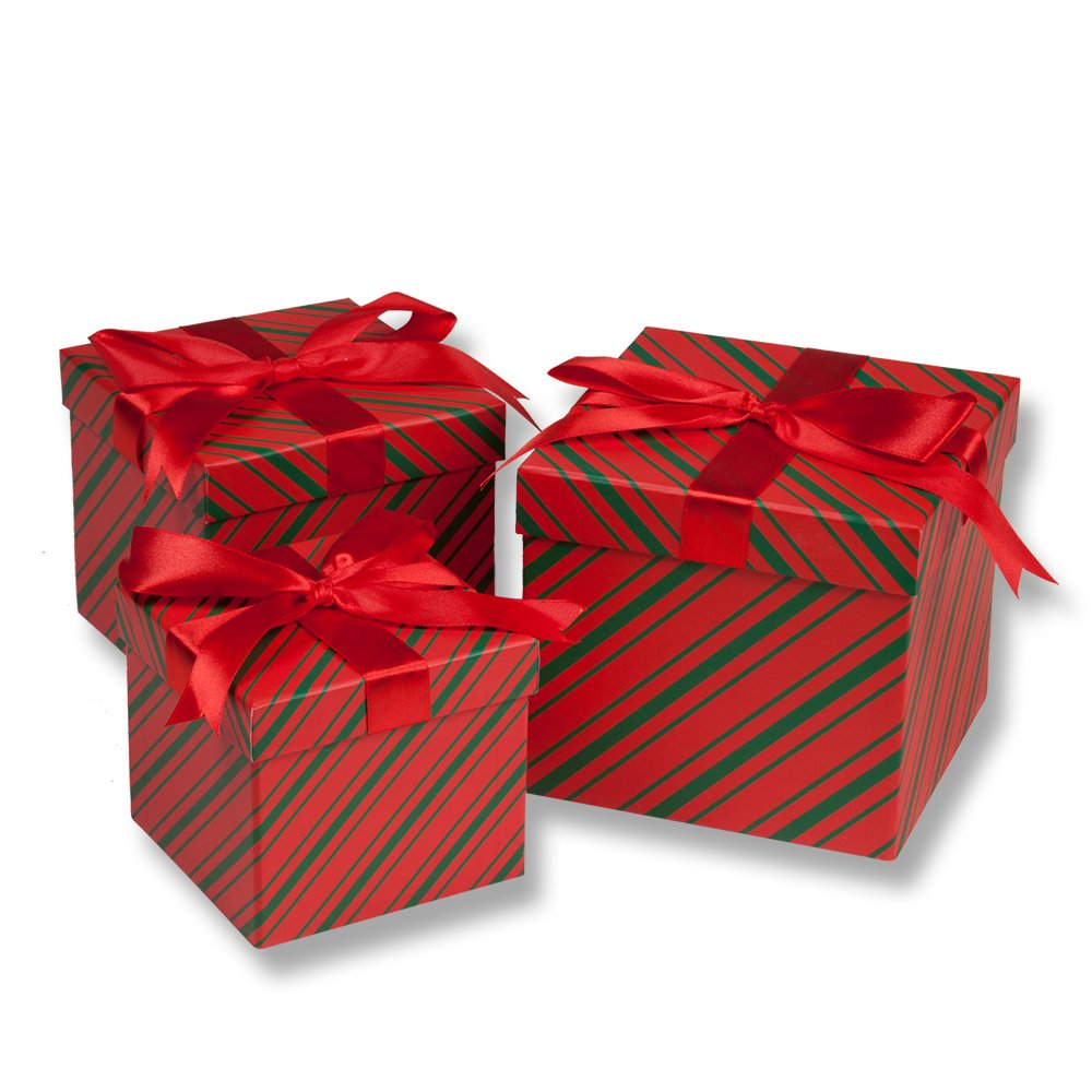 3 Piece Christmas Nesting Gift Boxes; Red & Green Stripes