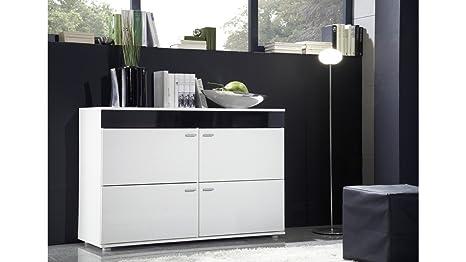 """Moderne HIGH GLOSS """"LOGO"""" 2 Kommode / Anrichte / Kommode, Lounge, Wohnzimmer, Schlafzimmermöbel, hochglänzend, Möbel, 6), Weiß / Schwarz / Pflaume WALLIS BLACK TRIM"""