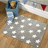 Flair Rugs Stars Grey/White Washable Unisex Childrens Kids Nursery Rug 70x100cm