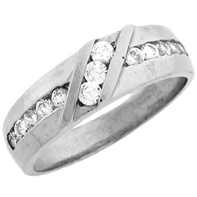 14ct White Gold Unique Mens CZ Ring With Round Cut Channel Set Stones