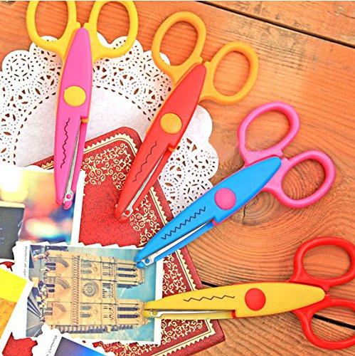 """ASDOMO Paper Scissors- 6pcs one pack Decorative Craft Border Scissors Scallop Wavy Fancy Pinking Shears DIY-Assorted Colors for scrapbook crafts and Gift Card (Pack of 6 - 5"""")"""