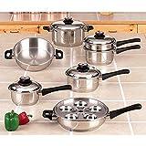 Maxam KT17 17-Piece 9-Element Surgical-Stainless-Steel Waterless Cookware Set