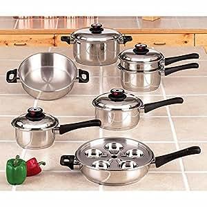Maxam KT17 17-Piece 9-Element Surgical-Stainless-Steel Waterless Cookware