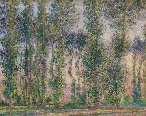The High Quality Polyster Canvas Of Oil Painting 'Poplars At Giverny, 1887 By Claude Monet' ,size: 24x30 Inch / 61x77 Cm ,this High Definition Art Decorative Prints On Canvas Is Fit For Bedroom Decoration And Home Decoration And Gifts