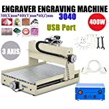 Engraver Machine TBVECHI 3/4 Axis 1.5-2 KW CNC Router Cutting Machine Engraving USB Port (3AIX3040USB) (Tamaño: 3AIX3040USB)