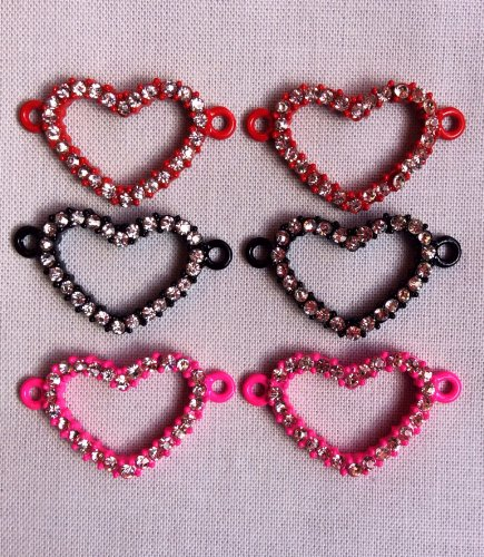 Heart Rhinestone Connector Charms Set of 6, Great for Loom Creations