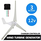 Notika 500W Horizontal Wind Turbine Generator Kit + Controller 12V 3 Blades with Controller For Homes Businesses Industrial energy Supplementation (Color: 500W 12V 3 Blades)