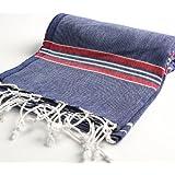 """Cacala 100% Cotton Pestemal Turkish Striped Bath Towel, 37 x 70"""", Dark Blue/Red"""