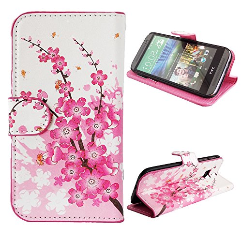 Mylife (Tm) Pink + Pearl White Cherry Blossom Branches {Graphic Design} Faux Leather (Card, Cash And Id Holder + Magnetic Closing) Slim Wallet For The All-New Htc One M8 Android Smartphone - Aka, 2Nd Gen Htc One (External Textured Synthetic Leather With M