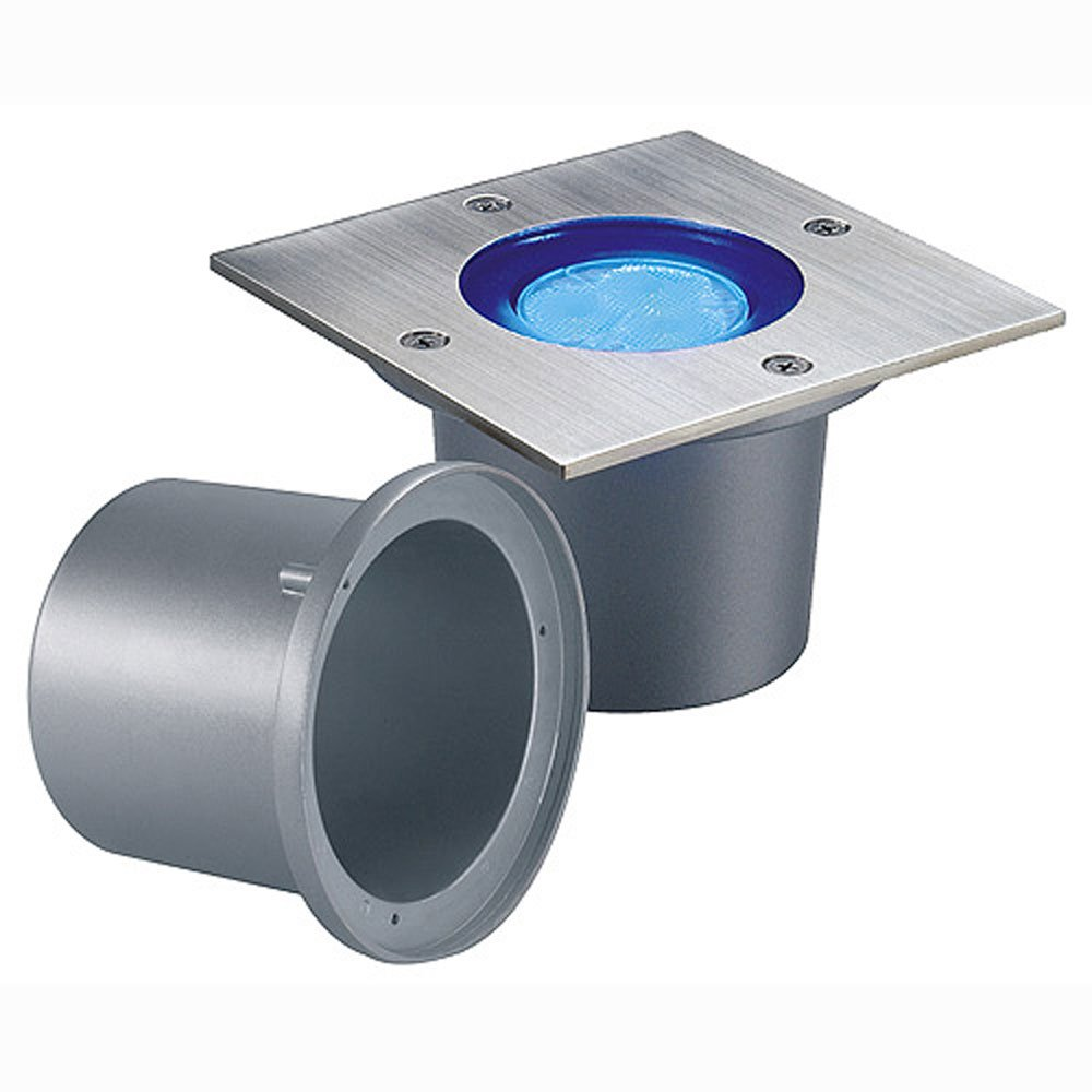SLV Wetsy Power LED Einbauleuchte, eckig, Edelstahl 316, 3x1 W, warmweiß, IP67 227422