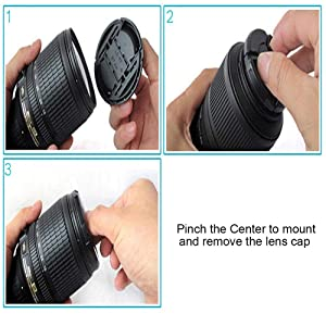 ULBTER 52mm Snap-on Lens Cap Cover for Sigma E-Mount 30mm F1.4 Lens for Sony Alpha a6500 a6400 a6300 a6000 a5100 a5000 Digital Camera,Center Pinch Lens Cap Lens Cover -3 Pack (Color: 52mm)