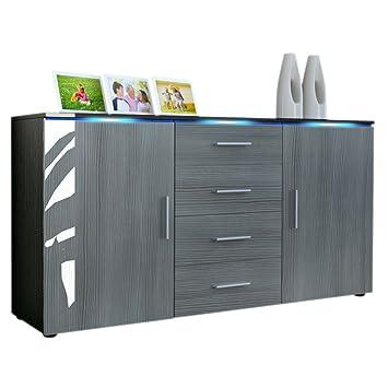 Buffet meuble tv tv faro en noir mat avola anthracite cuisine maison z332 - Buffet noir mat ...
